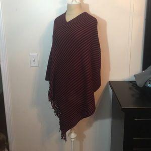 Jackets & Blazers - Burgundy and black fringe poncho
