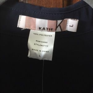 Katie Tops - NWT Katie Navy Blue Hi/Low Sheer Blouse Size Large