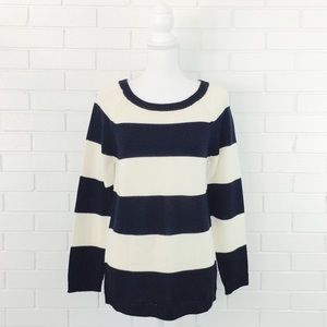 Joe Fresh Navy Striped Crew Neck Sweater