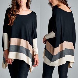 VINA Stripe Long Sleeve Top - BLACK