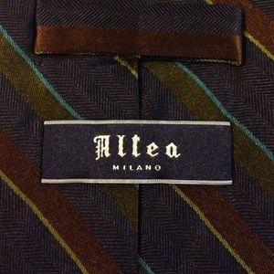 Altea Accessories - Altea Navy w/ Olive & Brown Stripe Silk Tie