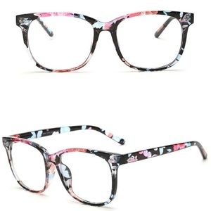Black Floral Stylish Clear Lens Glasses NWOT