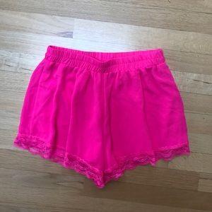 Pants - Pink silky shorts