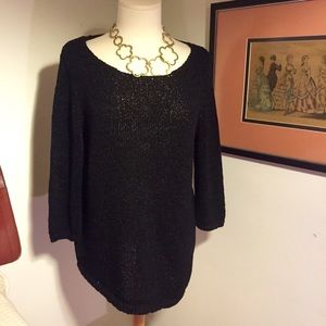 Chico's NWT Black Assymetrical Sweater Size 2