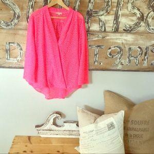 Plus size wrap front high low blouse