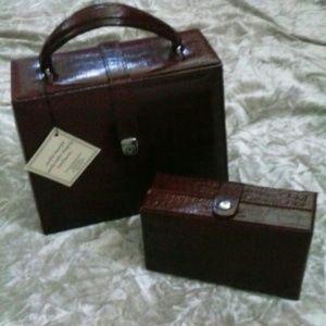 NWT Leather Travel Mirror Jewlery Case Box