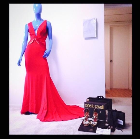 Roberto Cavalli Dresses | Nwt Red Evening Gown | Poshmark