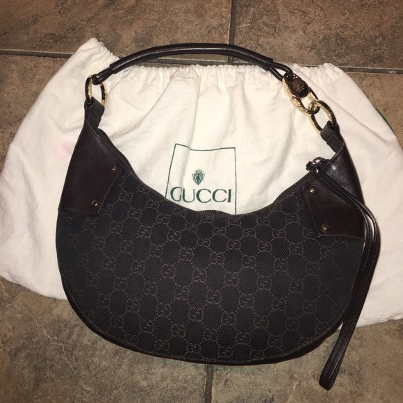 d9e75461ff7a6e Gucci Bags | Crescent Moon Hobo Brown Canvas Leather Bag | Poshmark