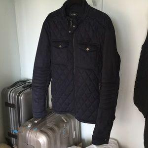 Zara Man Midnight Navy Quilted Faux Suede Jacket