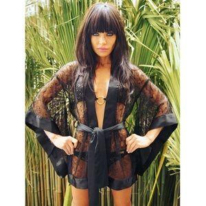 BLack Lace Kimono: 100% Silk satin& Chantilly lace