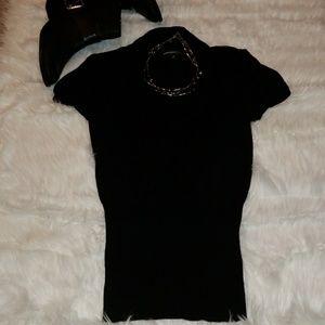 Express Short Sleeve Black Sweater