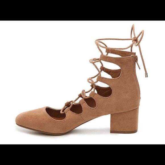 70f753d0f22 ALDO camel brown lace up suede block heels