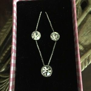 Crystal CZ Solitaire Necklace & Earrings Set
