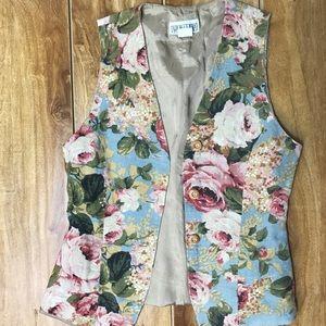 Tops - Vintage Floral Vest size S Fully lined