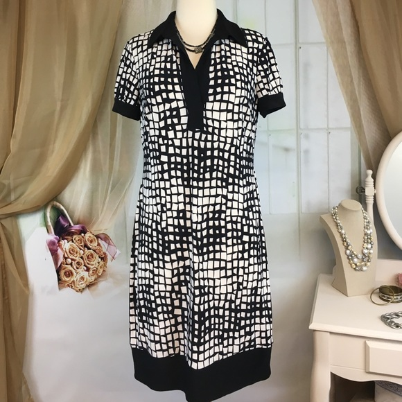 Chaps Dresses & Skirts - Chaps Black & White Abstract Print Dress