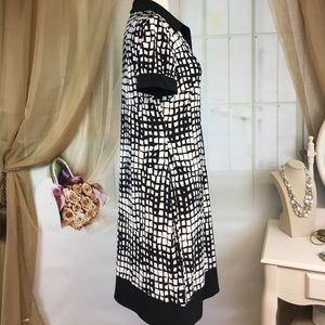 Chaps Dresses - Chaps Black & White Abstract Print Dress