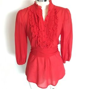 Bebe Red Silk Sexy Career Ruffle Blouse Top Small