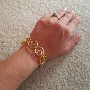 Gold Swirly Cuff Metal Bracelet