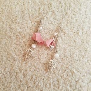 Silver & Pink Dangle Earrings