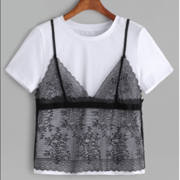 b11d2a4e19da0 30% off Tops - NEW Lace Floral Tank Top Cami Overlay T-Shirt Top ...