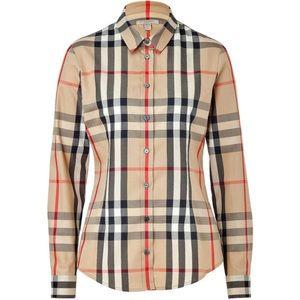 Burberry Classic plaid button down shirt tan 3/4
