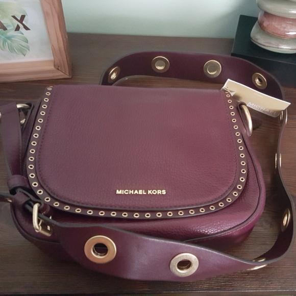 NWT Michael Kors Brooklyn Medium Saddle Bag Plum NWT