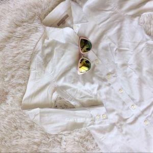 BANANA REPUBLIC white long sleeve button down top