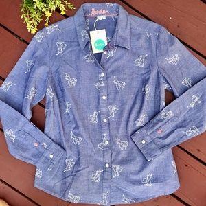 Boden Blue London/England Print Button Down Shirt