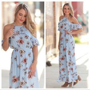 ❤️LAST ONE! Floral Halter Cold Shoulder Maxi Dress