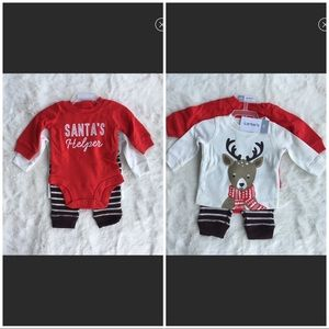 Carters Infant 3 Pc Outfit Christmas Reindeer  3m