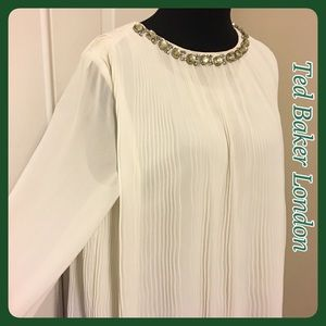 NWT Ted Baker London Pleated Embellished Top