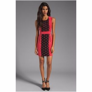 Tracy Reese lace front sheath coral dress
