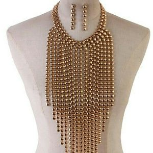 Jewelry - METAL FRINGED NECKLACE SET