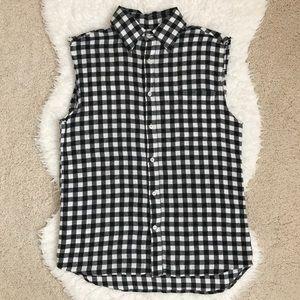 Aqua Black-white Plaid & Skull Vest