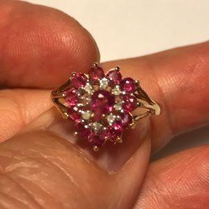 Jewelry - Estate 14K YG Ruby & Diamond Ring Feminine Bling