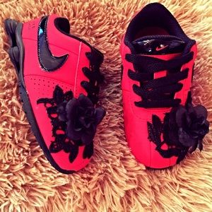 Toddler Customized Lace 3D Rose Nike Dual Shocks!