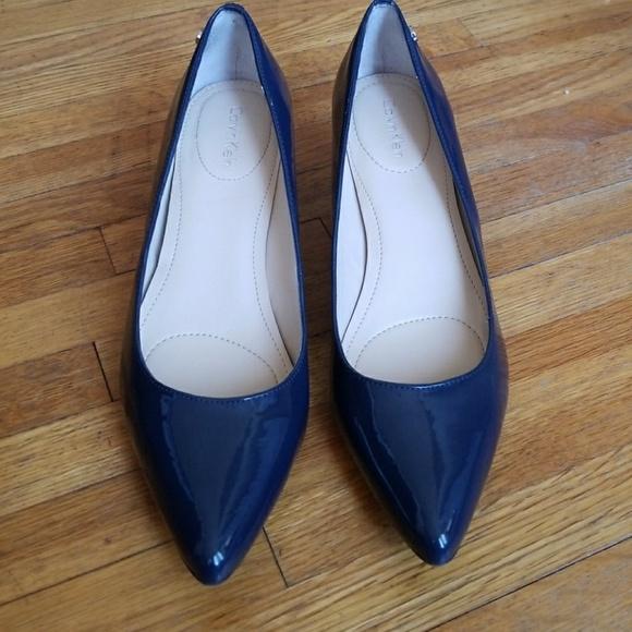 Calvin Klein Blue Patent Kitten Heels