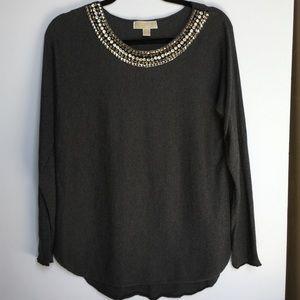 Michael Kors Angora Slate Gray Embellished Sweater