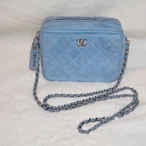 Chanel Vintage Suede Light Blue Cross Body Bag
