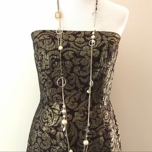 Gorgeous!!! Gold & Burgundy Strapless Party Dress