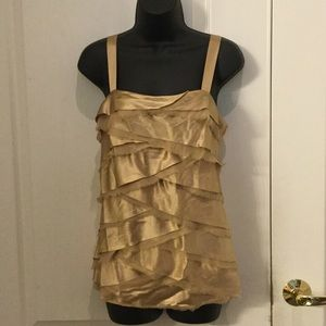 CACHE Gold Sleeveless Tiered top