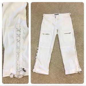 Elie Tahari white linen blend pants