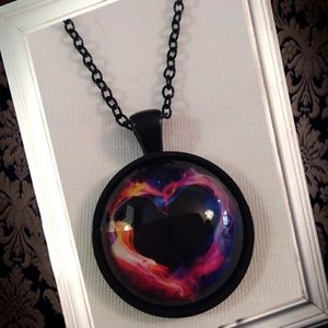 Jewelry - Glow in the dark burning heart cabochon necklace