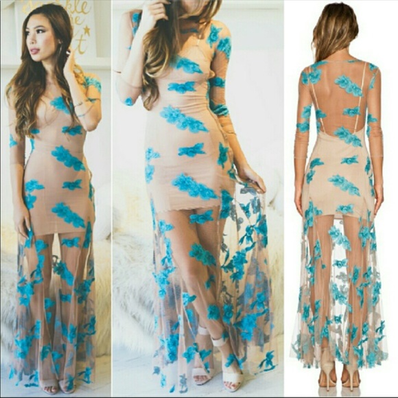 c3008bbecf9 New Orchid Maxi for Love   Lemons Dress Aqua Sheer