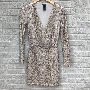 Moda International Gold Sequin Long Sleeve Dress