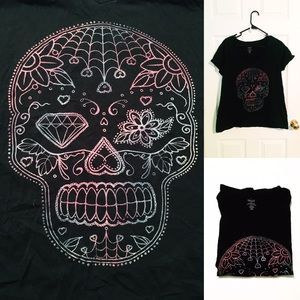 EUC Sugar Skull Graphic Tee