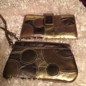 Other - Fossil 2 Pcs Bronze Wallet & Wristlet