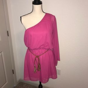 Other - BEAUTIFUL PINK ROMPER WITH BROWN BELT! NWT