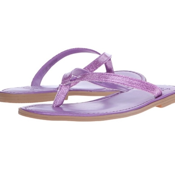 NEW Big Kids Ugg Purple Sparkles Flip Flops