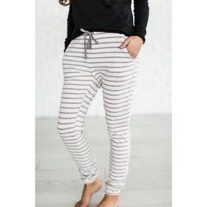 Pants - | lavender striped jogger pants |